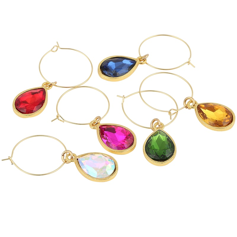 Tear Drop Gem Wine Charms