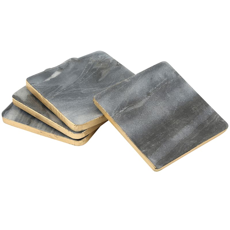 Square Grey Marble Coasters/Gold Color Edge Set Of 4