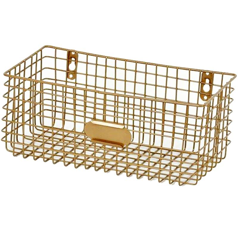 Gold Metal Wall Basket
