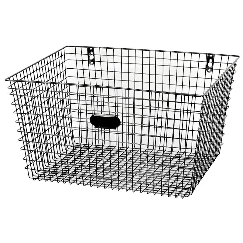 No Square Tapered Metal Mesh Wall Basket Black