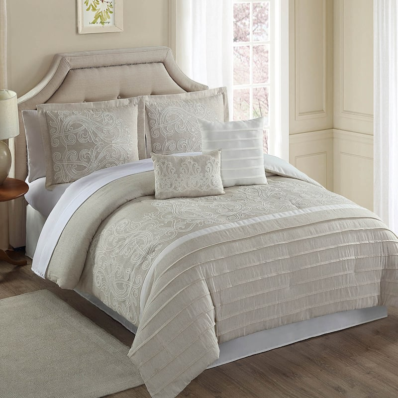 Natural 6-Piece Glorious Linen-Blend Embroidered Comforter Set King