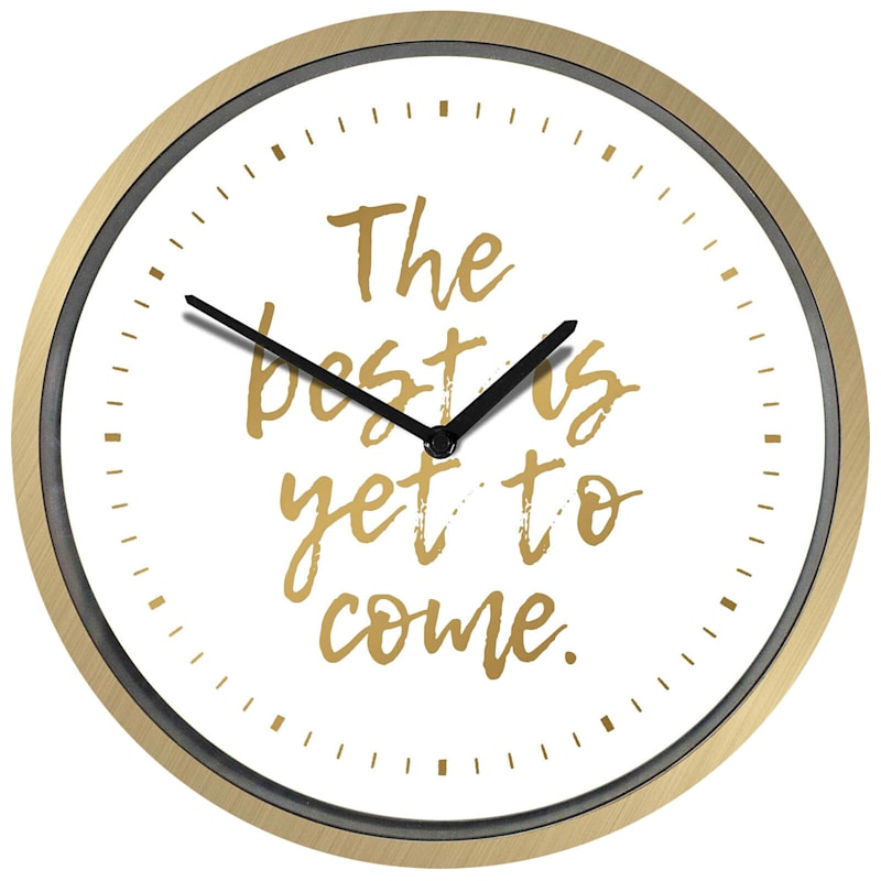 Gold Foil 'Best To Come' Clock 12-in.