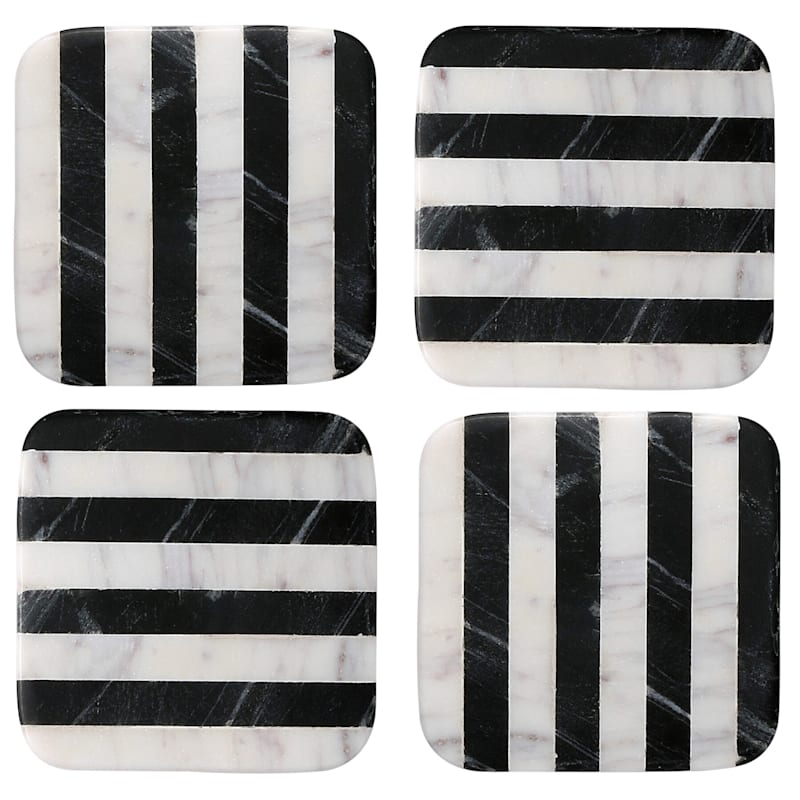 Square Black/White Stripe Marble Coasters Set Of 4
