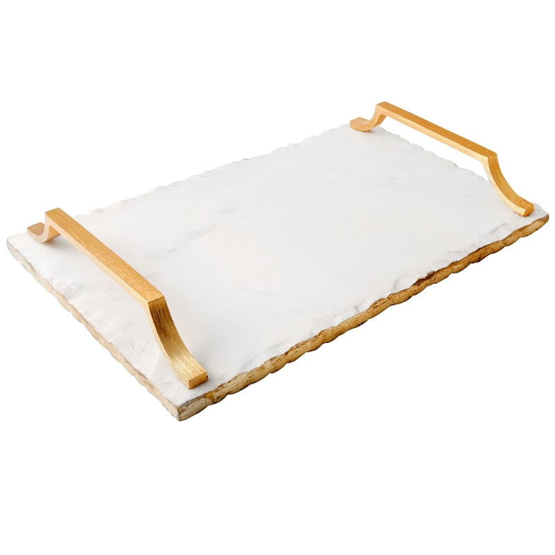 Rectangle White Marble Serve Tray/Gold Color Metal Handles