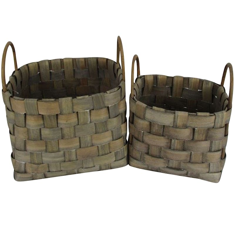 Rectangular Chip Wood Basket/Handle