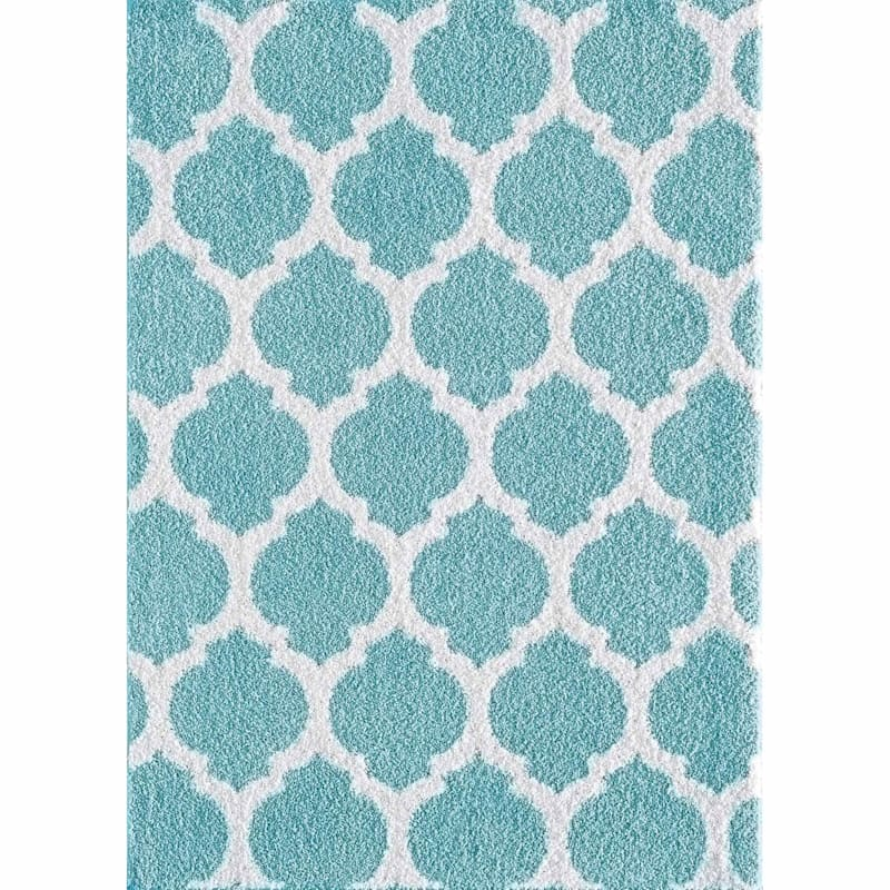 (D381) Quatrefoil Blue Tufted Area Rug With Non-Slip Back, 8x10
