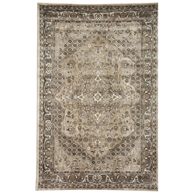 (B492) Grey & Beige Traditional Antiqua Looking Medallion, 7x10
