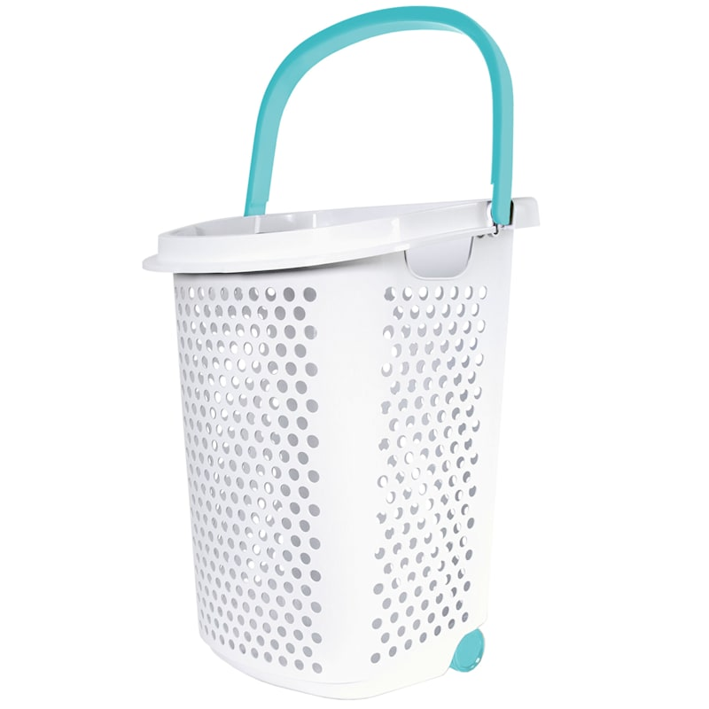 Home Logic 2.5 Bu. Rolling Laundry Hamper White