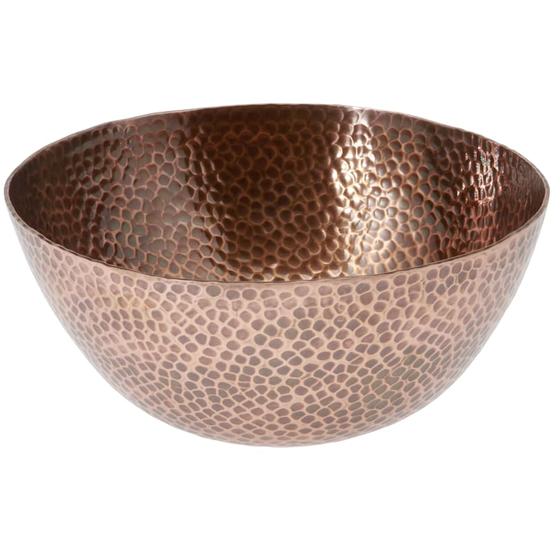 Round Metal Hammered Texture Antique Copper Bowl
