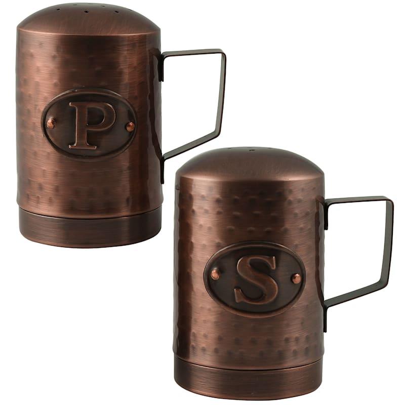 Metal Hammered Texture Antique Copper Finish Salt/Pepper Set