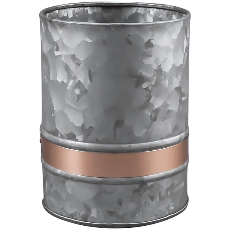 Galvanized Metal Utensil Crock /Copper Color Accent