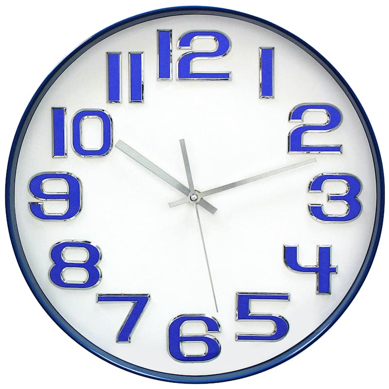 14in. Royal Blue Round Wall Clock With Chrome Numbers