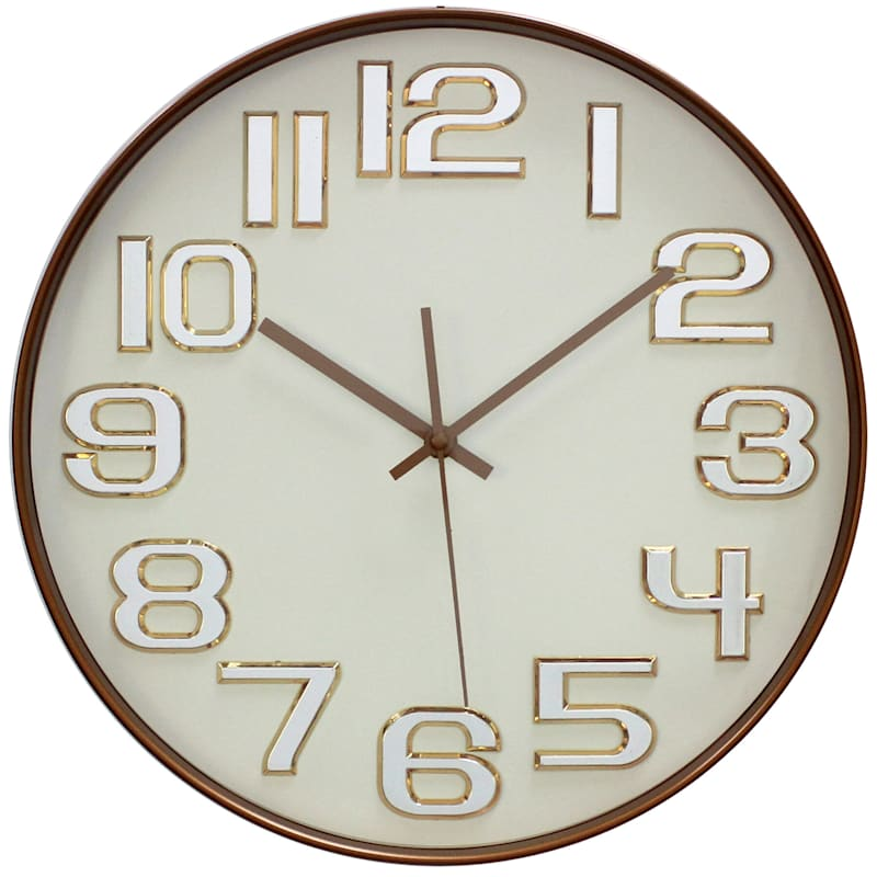 14in. Copper Round Wall Clock With Chrome Numbers