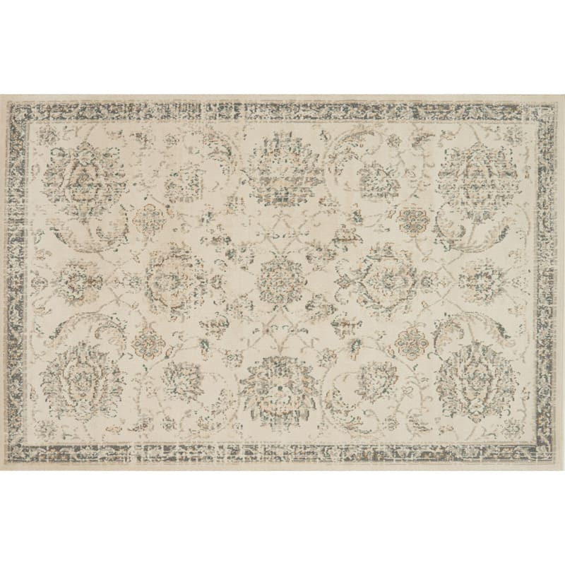 D384 Norwich Traditional Ivory and Beige Rug  - 5x7 ft.