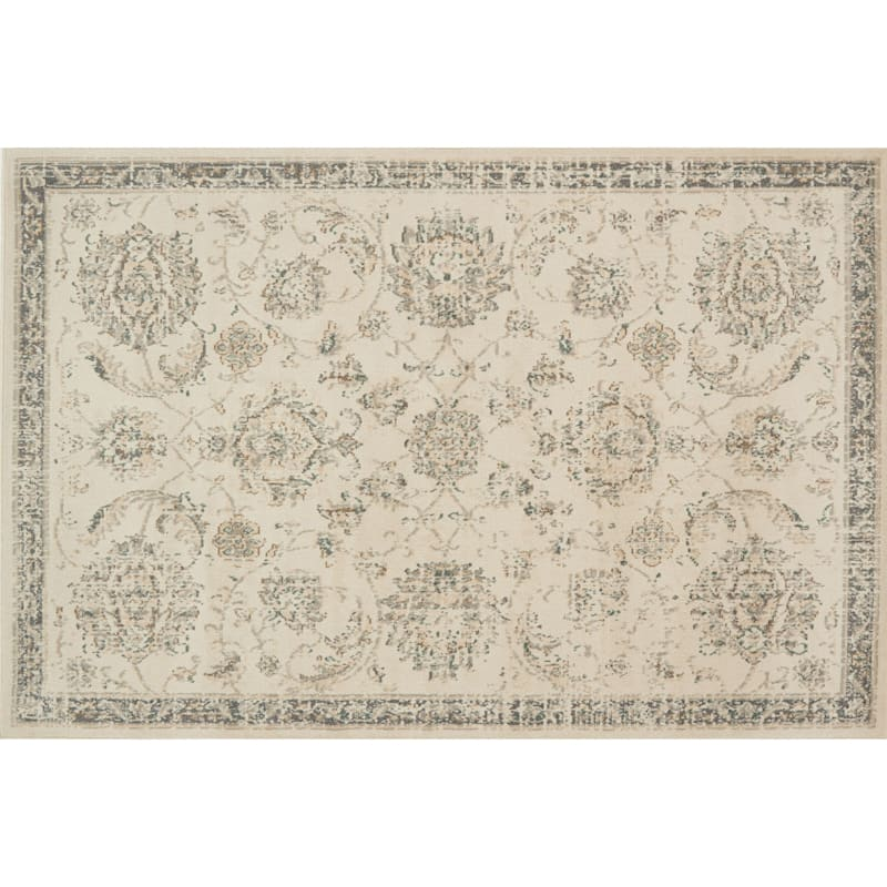 (D384) Norwich Traditional Ivory & Beige Area Rug, 7x10