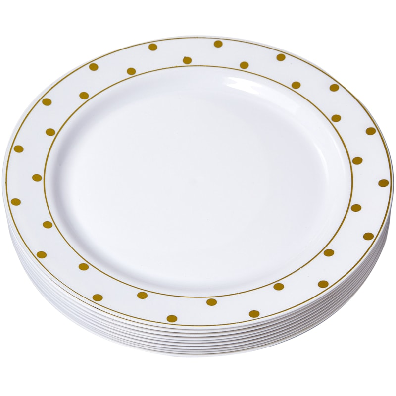 10in. White/Gold Dot Plate Set Of 10