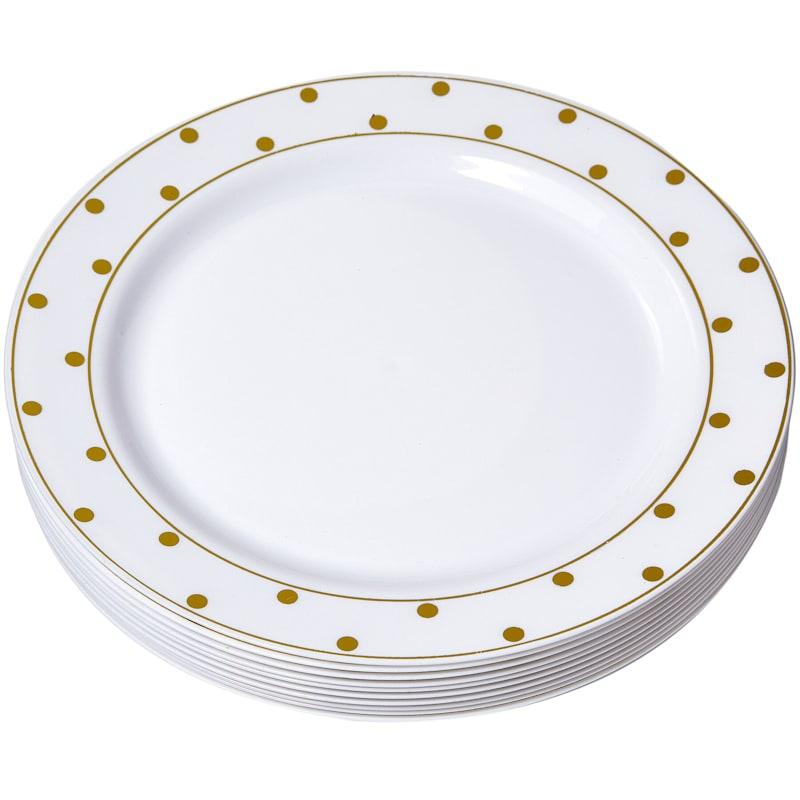 7in. White/Gold Dot Plate Set Of 10