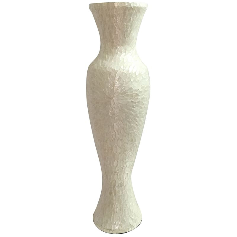 Capiz Resin Ivory Floor Vase
