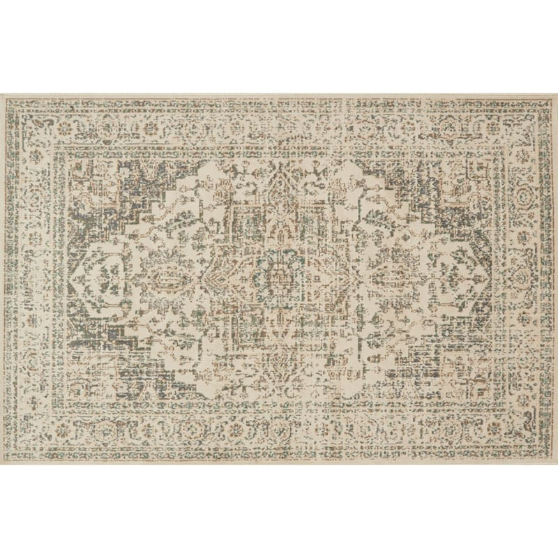 (D385) Norwich Medallion Ivory Area Rug, 7x10
