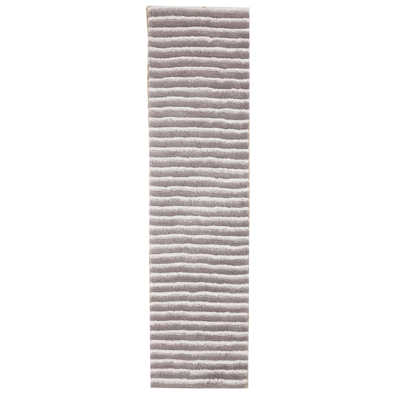 (A368) Microfiber Silver Toned Striped High/Low Rug, 2x7