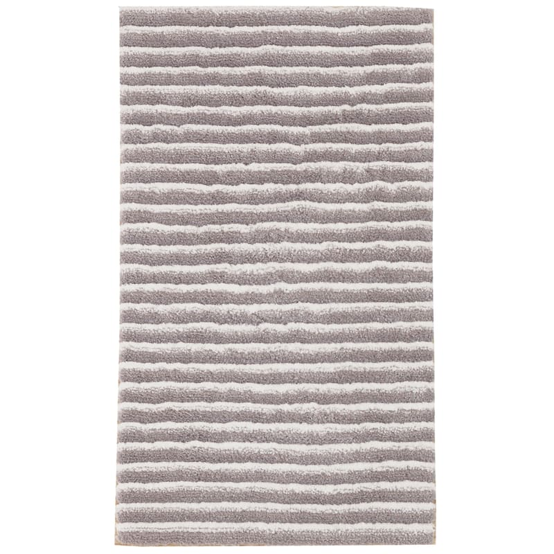(A368) Microfiber Silver Toned Striped High/Low Rug, 3x5