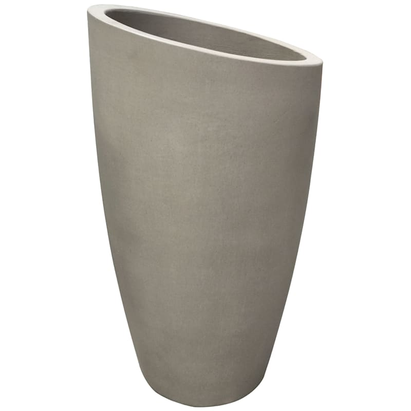 Slant Tall Cement Planter 26in. Grey