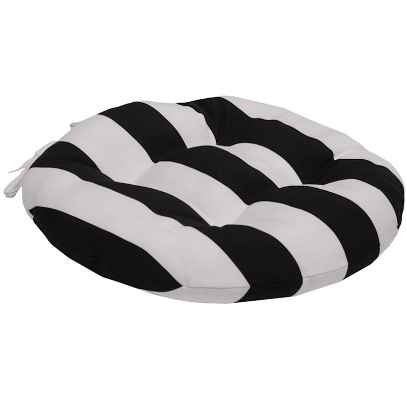 Black Awning Stripe Outdoor Round Seat Cushion