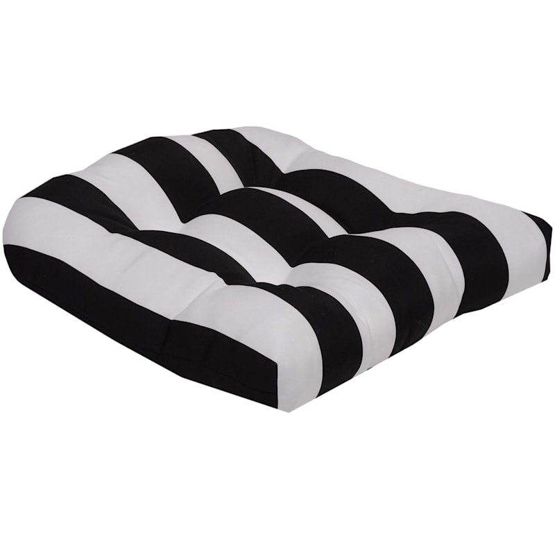 Black Awning Stripe Outdoor Wicker Seat Cushion