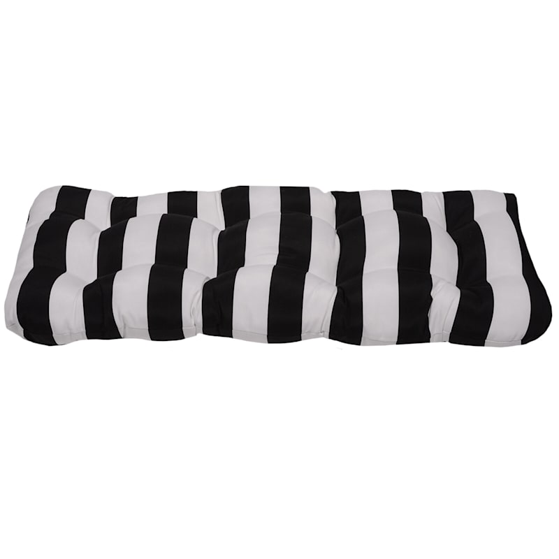 Black Awning Stripe Outdoor Wicker Settee Cushion