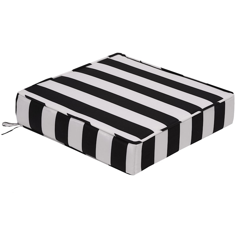 Black Awning Stripe Outdoor Deep Seat Cushion