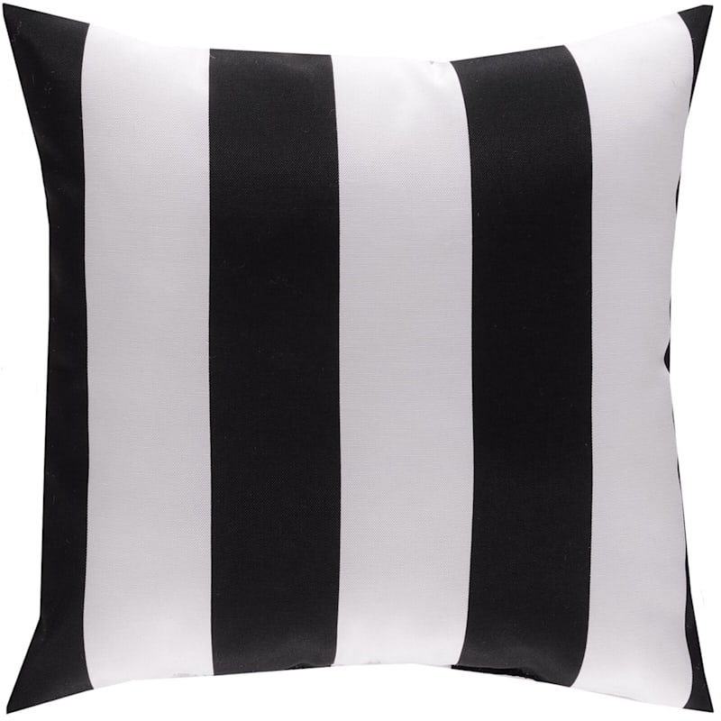 """Black Awning Stripe Outdoor  Square Pillow, 16"""""""