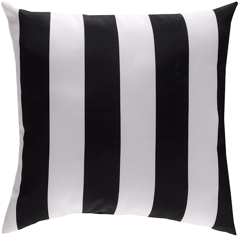 Black Awning Stripe Outdoor Square Pillow, 20""