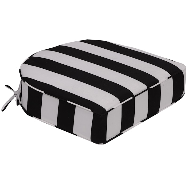 Black Awning Stripe Outdoor Curve Back Seat Cushion