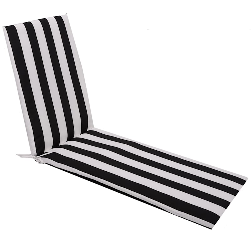 Black Awning Stripe Outdoor Chaise Lounge Basic Cushion