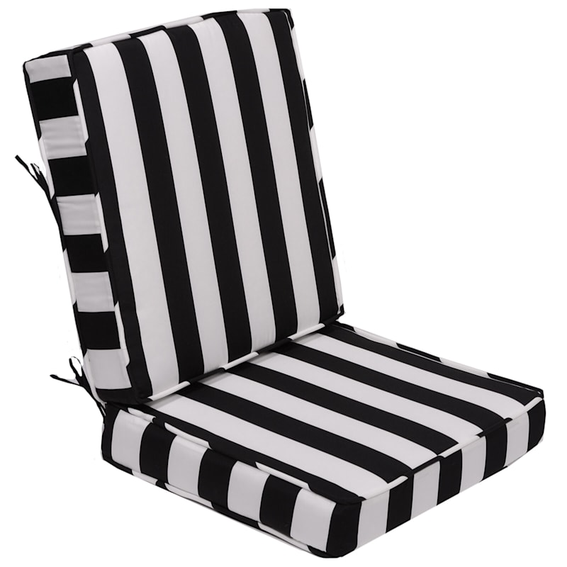 Black Awning Stripe Outdoor Deep Seat 2-Piece Cushion