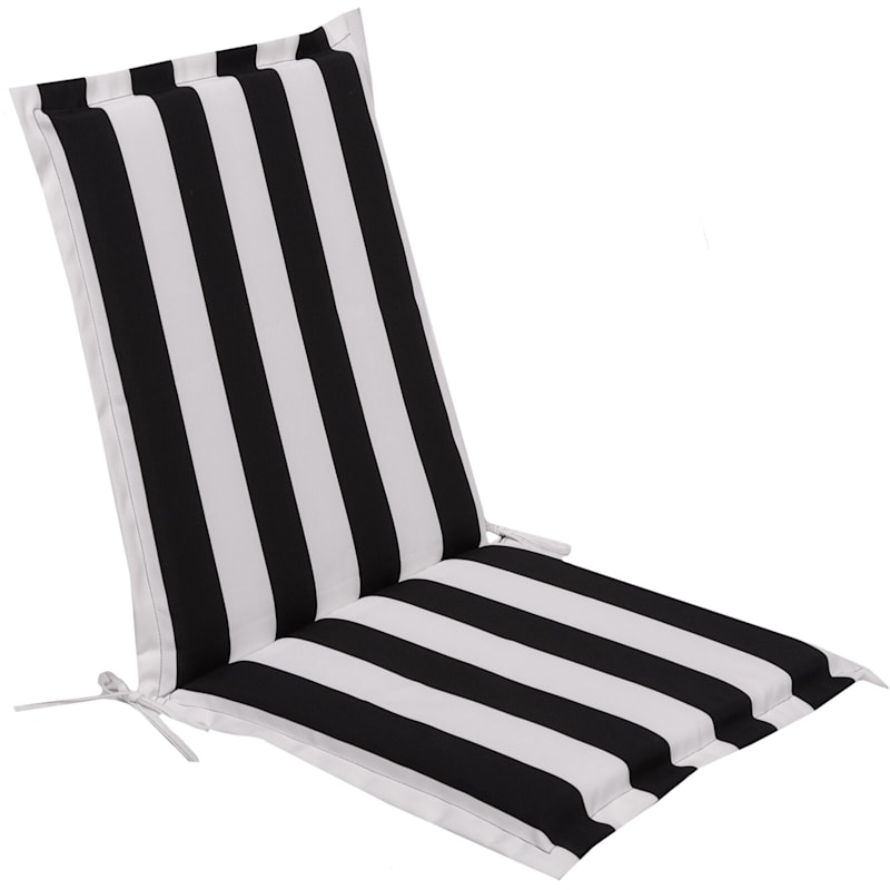 Black Awning Stripe Outdoor Chair Cushion With Flange