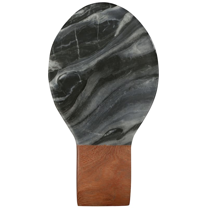 Grey Marble/Acacia Wood Handle Spoon Rest