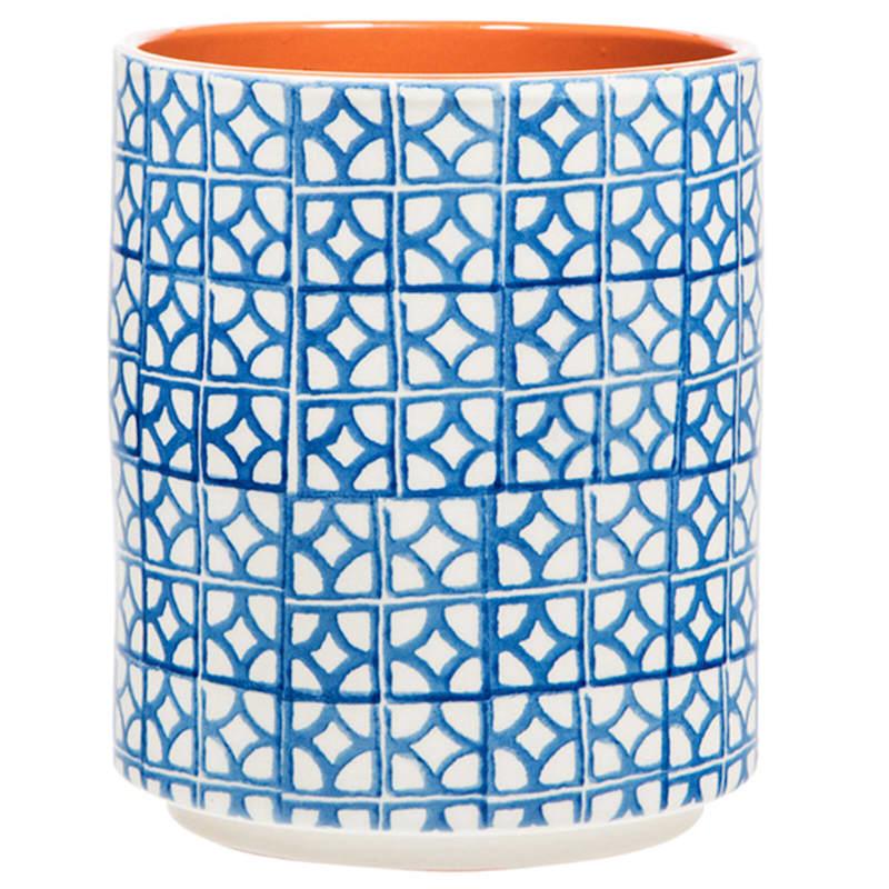 Blue Geometric Ceramic Crock