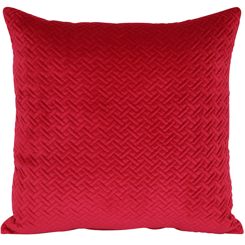 Wicker Park Red Pinsonic Plush Pillow 18X18