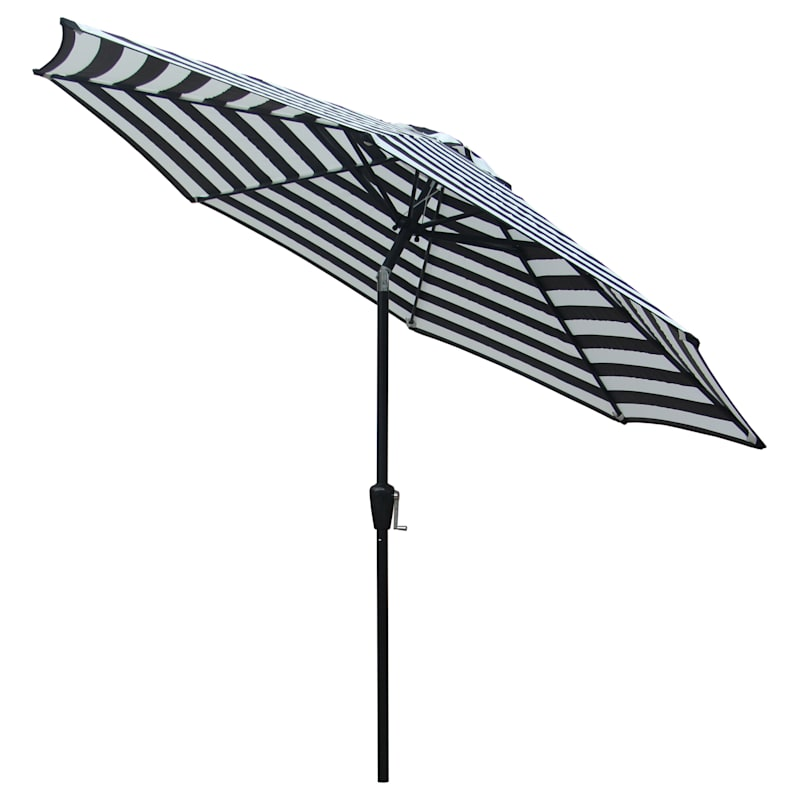 Steel Black Awning Stripe Round Crank And Tilt Outdoor Umbrella, 9'