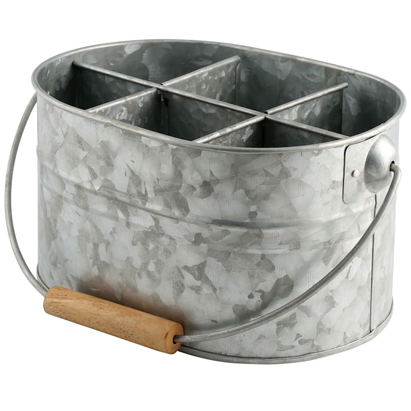 Oval Galvanized Metal Flatware Caddy