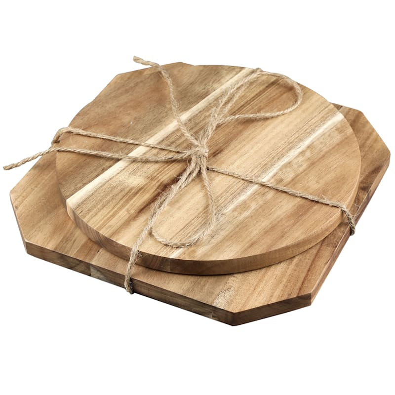 Acacia Wood Square/Round Trivets Set Of 2