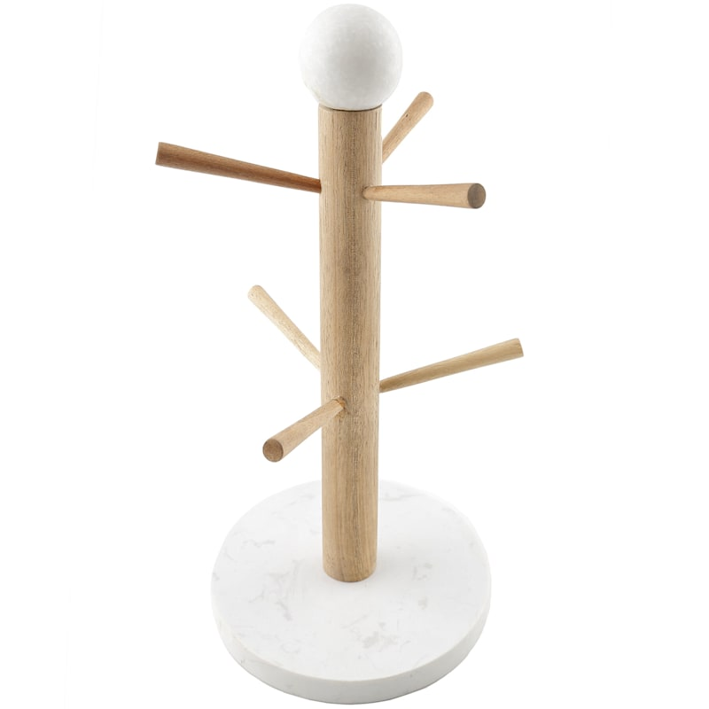 Wood Mug Tree/White Marble Base/Top