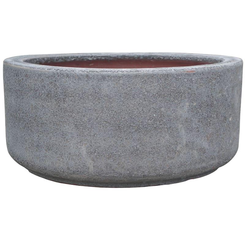 Lava Bowl Ceramic Planter 15in. Grey