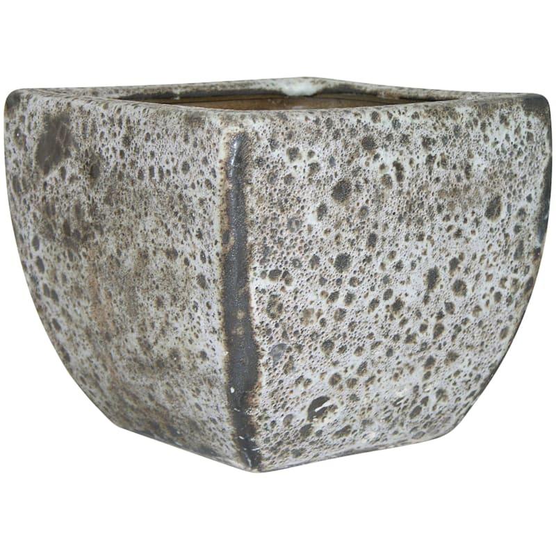 Lava Square Ceramic Planter 11.8in. Grey