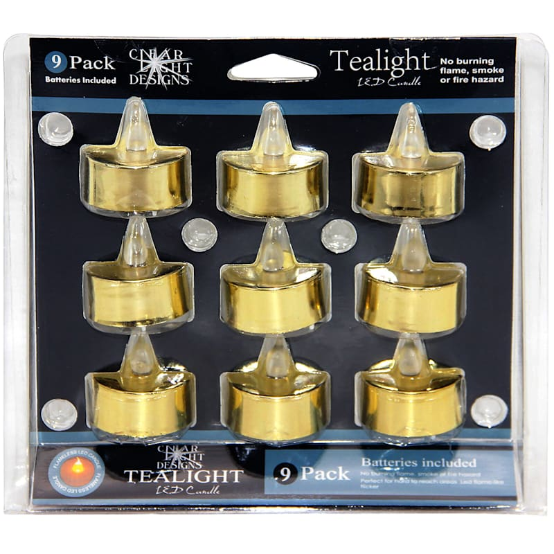 Set Of 9 Plastic Tealights Gold