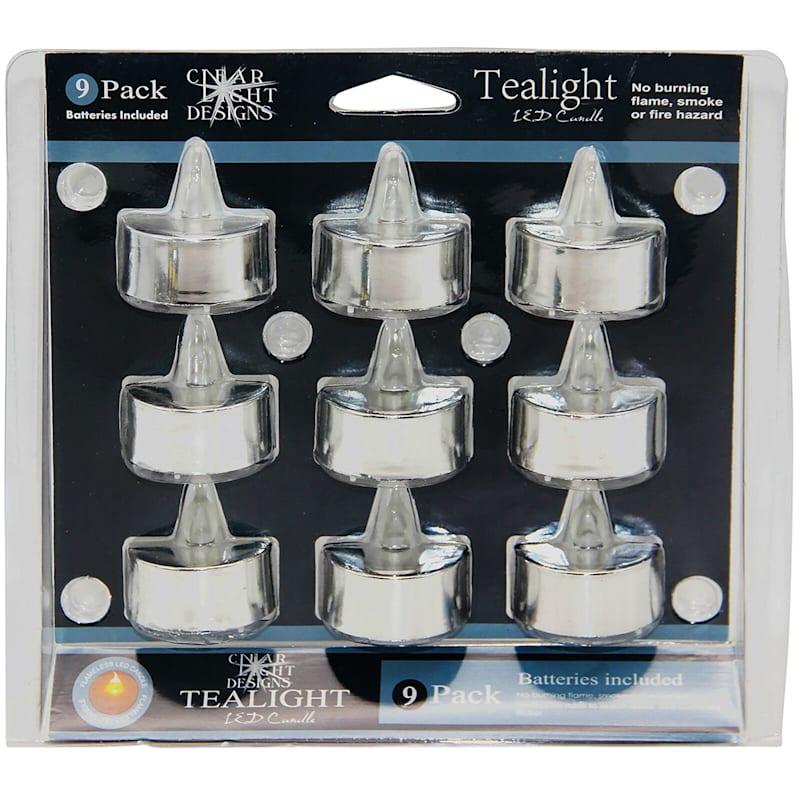 Set Of 9 Plastic Tealights Silver