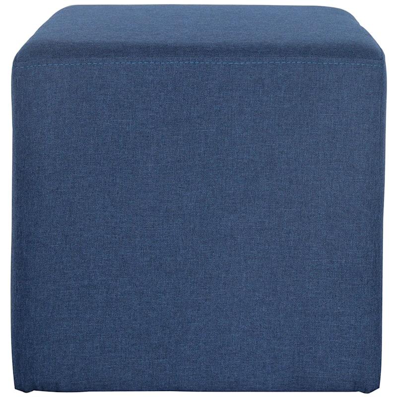 Addie Navy Linen Cube Ottoman