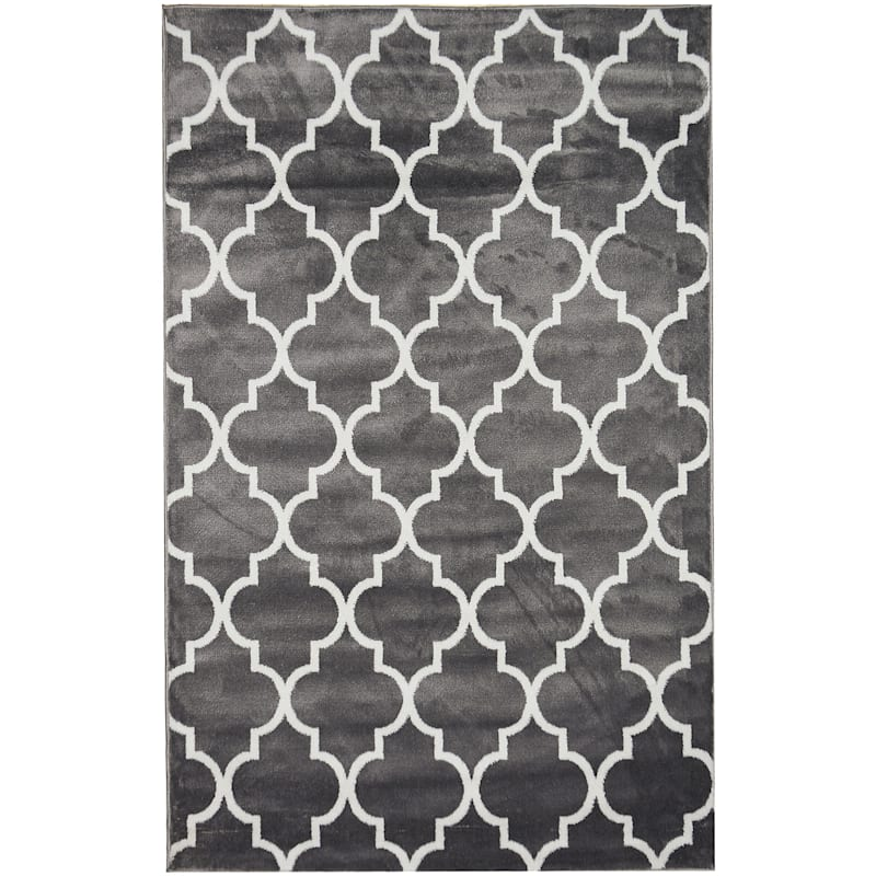 (D394) Dark Grey & White Modern Quatrefoil Design, 5x7