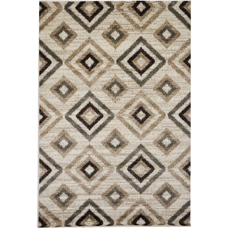 (D395) Beige & Brown Traditional Diamond Design, 8x10